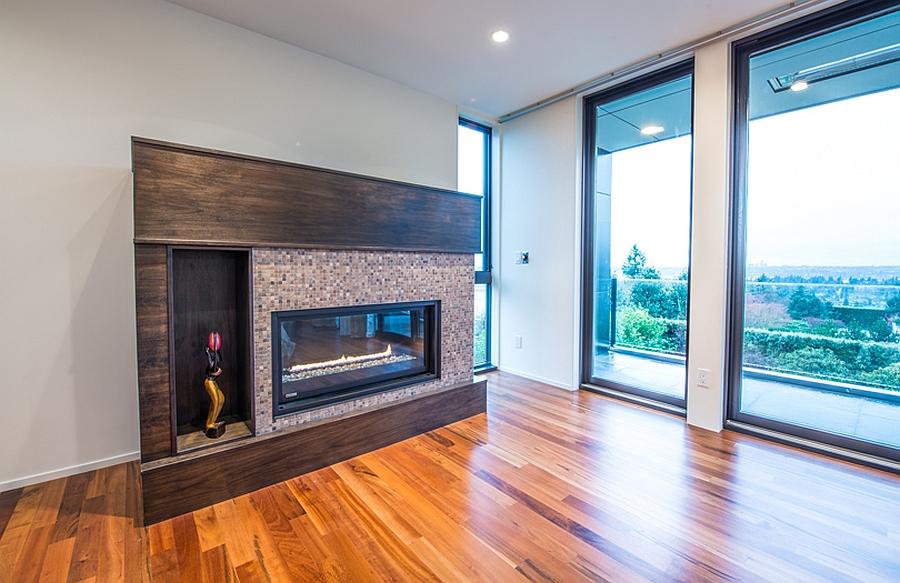 Stylish and minimal, modern fireplace