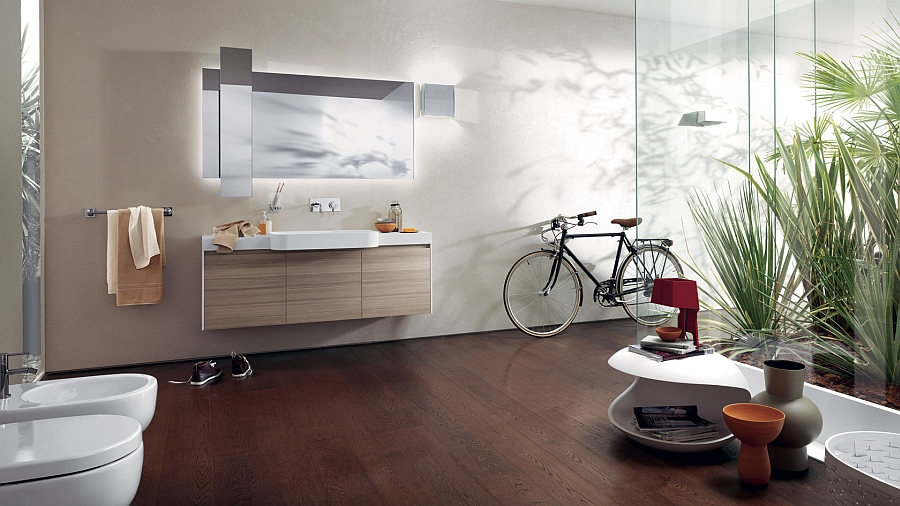 Stylish bathroom with modern floating vanity