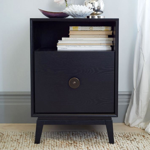 Stylish black nightstand