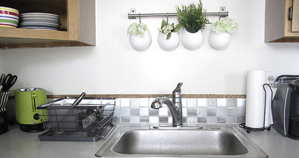 Stylish contact paper backsplash 12 DIY Projects That Make A Statement With Contact Paper