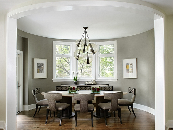 Stylish dining room in trendy grey