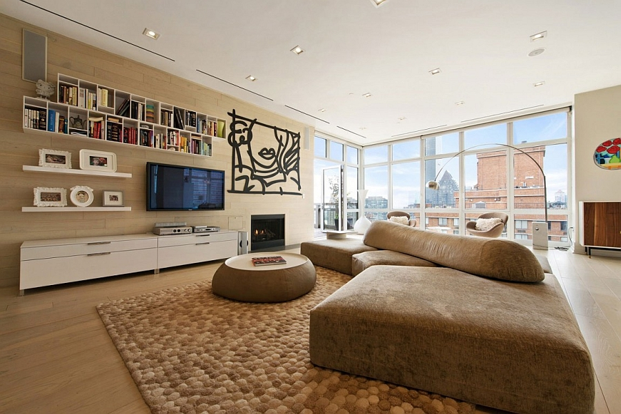 Stylish living room of New York City apartment Spectacular Views And Urbane Style Shape Gorgeous New York City Apartment