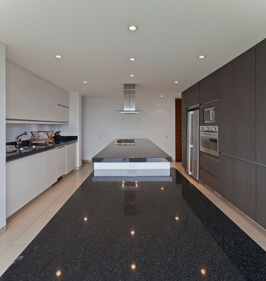 Stylish modern kitchen in grey and white