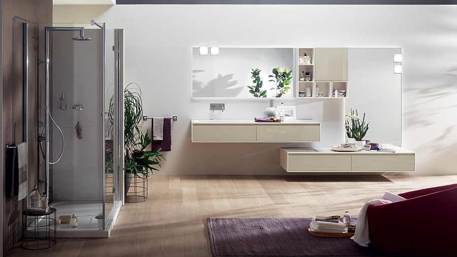 Suspended modules of the minimalist Rivo Bathroom Exclusive Minimalist Bathroom With Sleek Design And Striking Aesthetics
