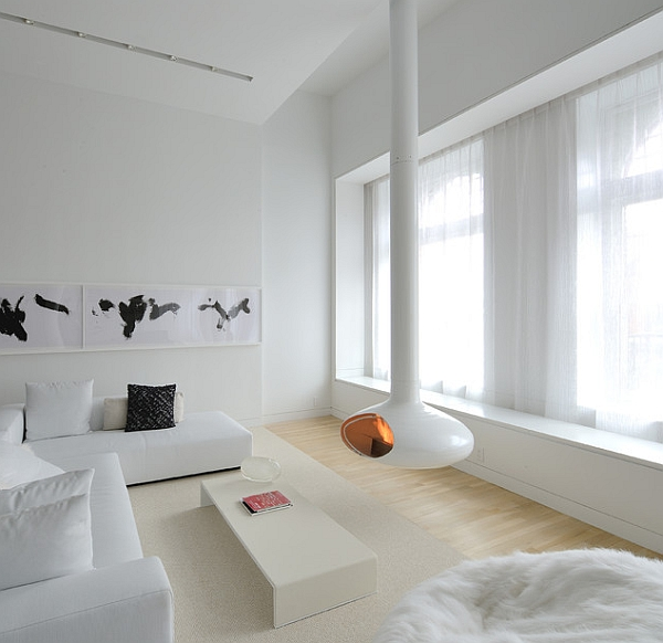 The Fireorb in white is a perfect fit in minimal homes!