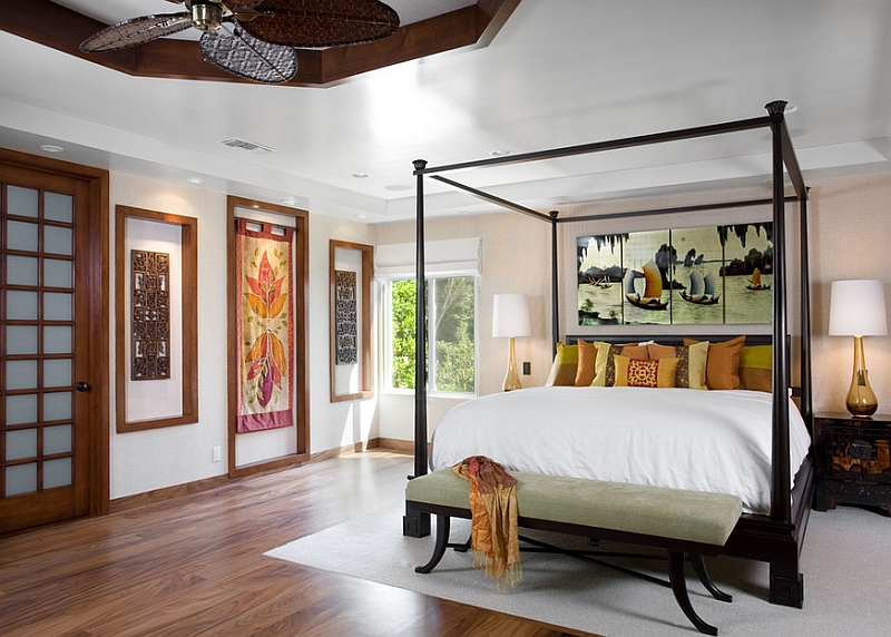 The four-poster bed gives your asian themed bedroom a holiday resort appeal