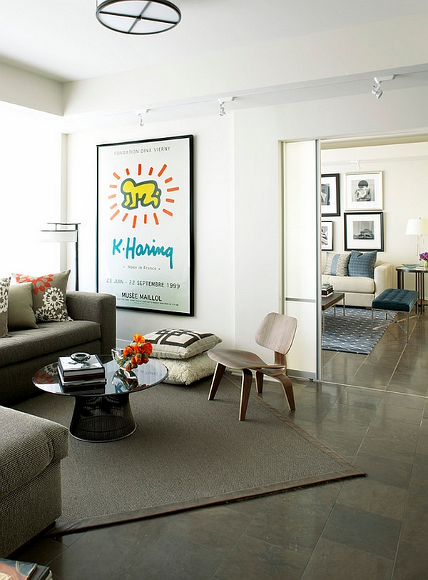 The placement of the rug seems to enhance the appeal of this eclectic space
