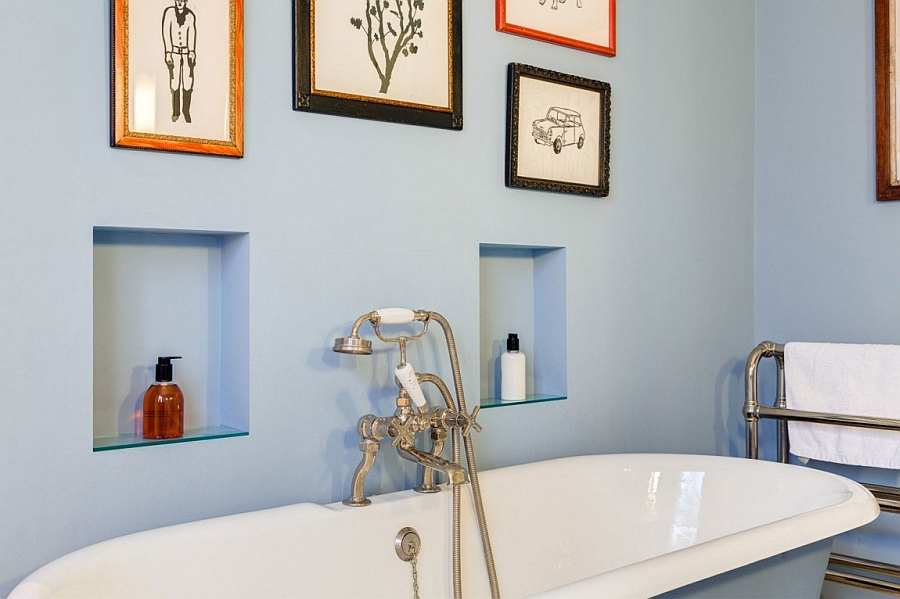 Traditional bath in cool blue