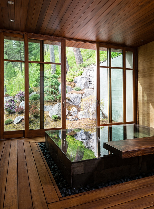 Japanese Design Inspired Pool House And Spa Showcases Stunning Lake Views