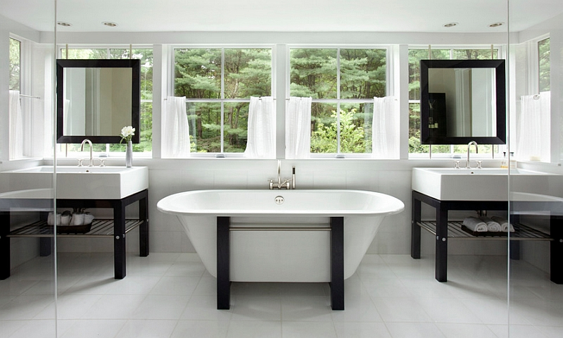 Transitional bathroom in black and white