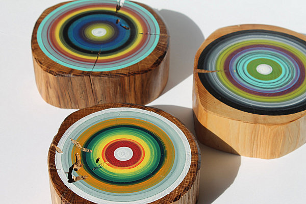 Tree ring art from Etsy shop Earth Art by Wendy