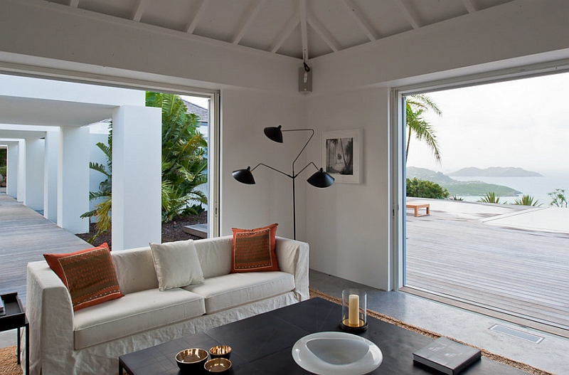 Tropical living room with sweeping views outside