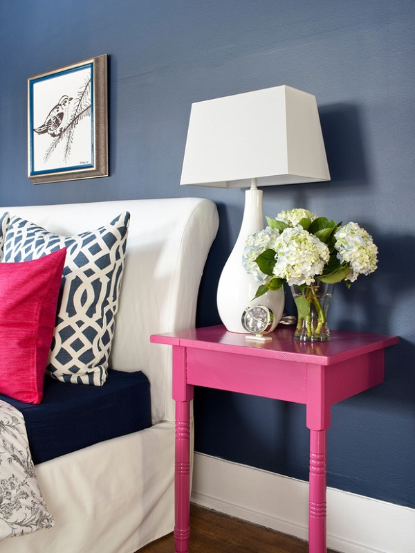 Two-legged hot pink nightstand