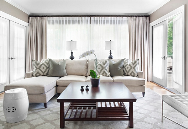 understated patterns add personality to the minimal living room - Living Room