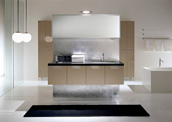 Unique features in a minimalist bathroom