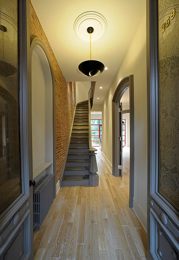Unique pendant light in the hallway