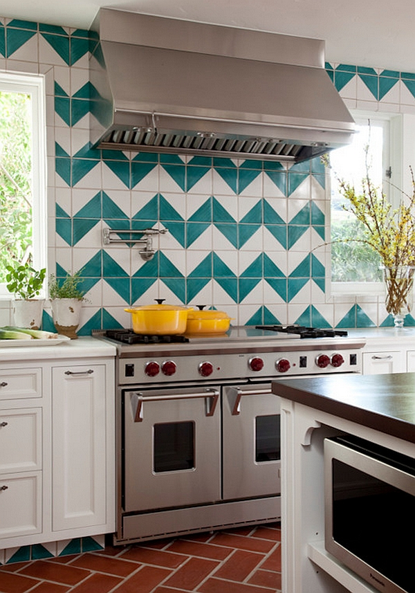 Vibrant Chevron Backsplash in the Kitchen