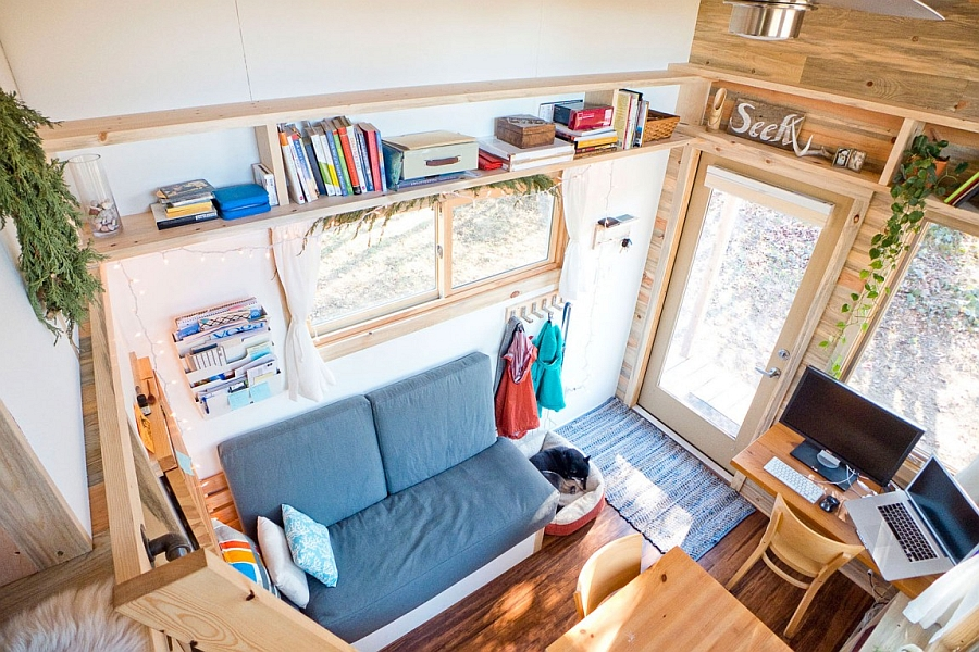 View of the tiny house from the loft