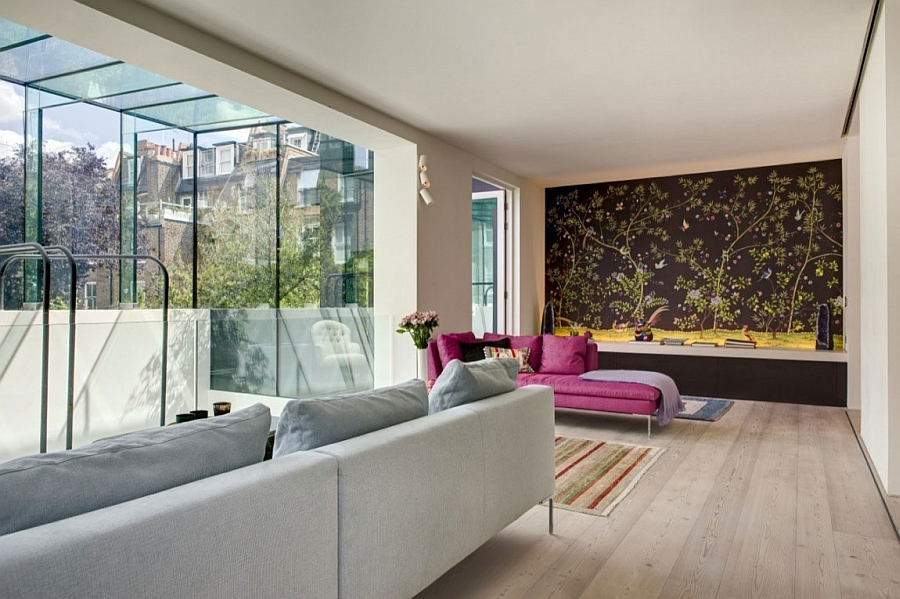 Wallpaper enlivens the cool London house