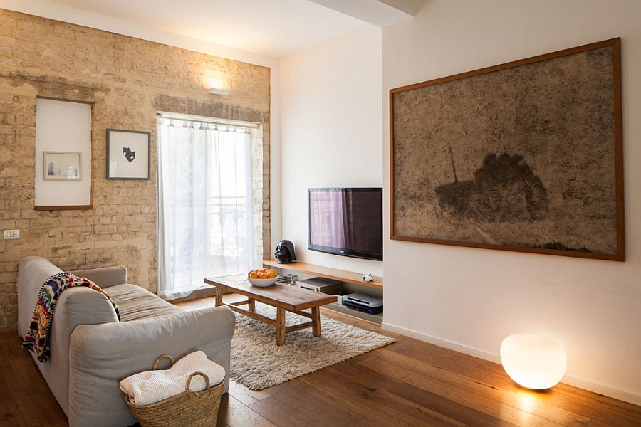 Small apartment in tel aviv gets a trendy modern makeover for Warm neutral living room