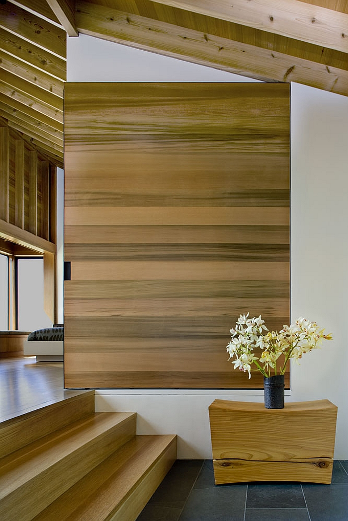 Warm wooden accents inside the Sea Ranch House