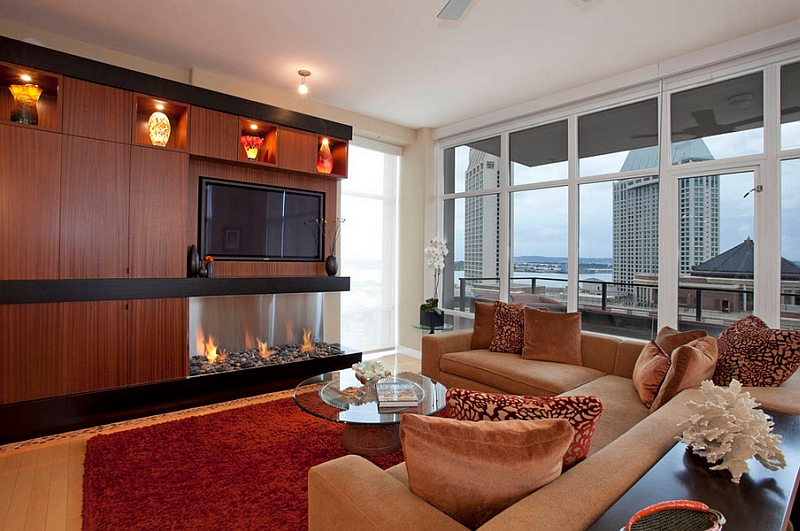 Warmth of the EcoSmart fireplace fills the fabulous living space