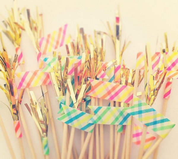 Washi tape drink stirrers