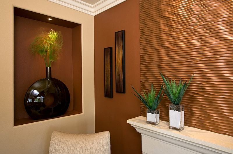 Wavy copper panel in the living room