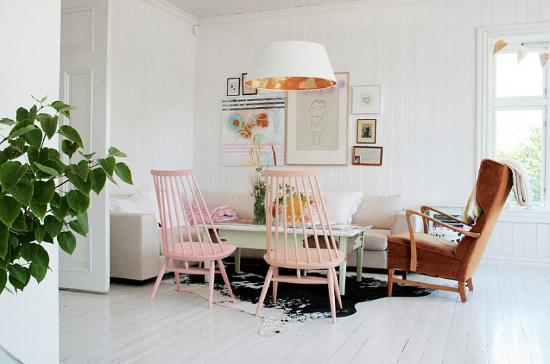 White Scandinavian Home with Pink Pastels