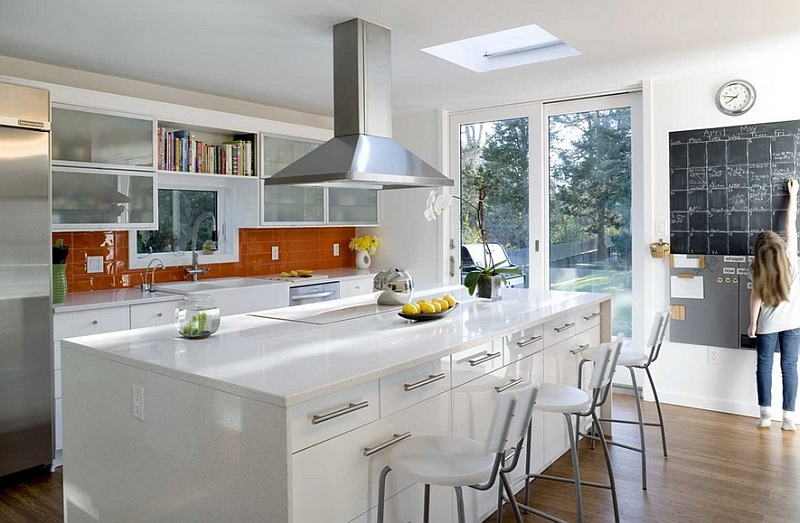 White and orange color combination for the kitchen