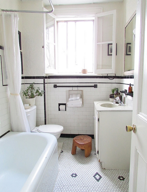 White dominates the color scheme in this small bathroom
