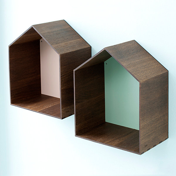 Wooden shelving in pastel hues