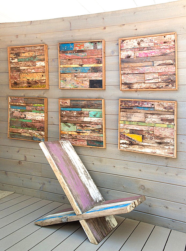 View in gallery Wooden strip wall art