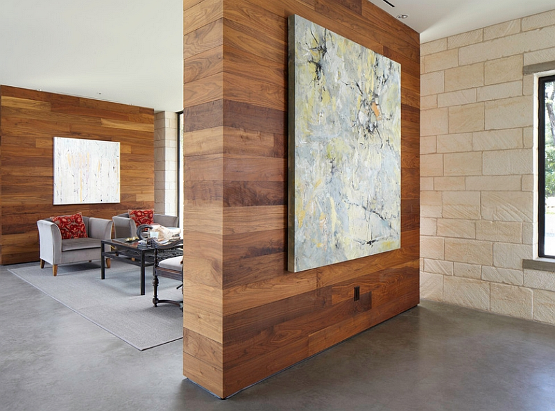 Wooden wall panels add warmth to the room