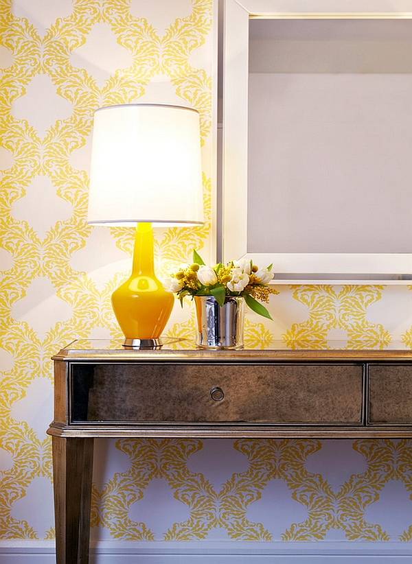 Yellow accent lamp adds warmth to any room it adorns