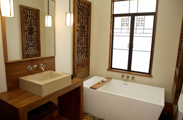 Sleek bathroom designs with Asian accents