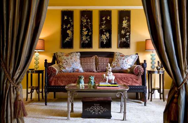 Asian-styled living rooms in gold and black