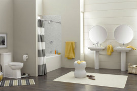 Shower curtains with gray and white stripes