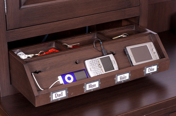 beautiful wood charging stations Mobile Device Charging Stations For A Neat And Tidy Space