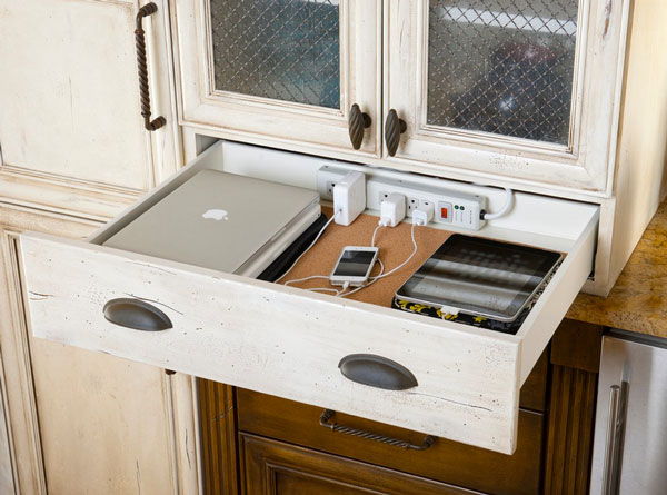 phone charging station Kitchen Modern with modern notepad storage phone.  Image by: Meier Residential