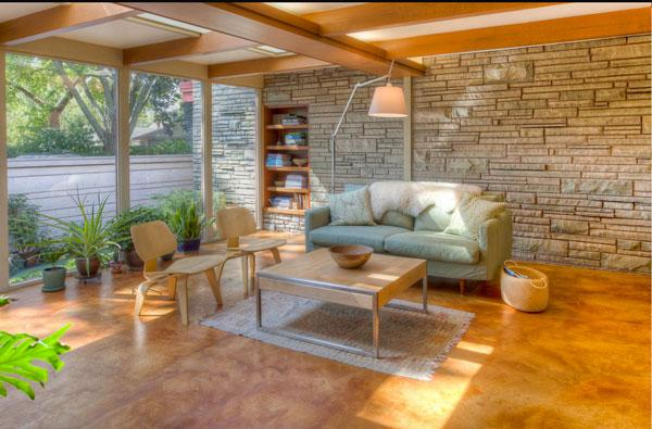 Marble-like sandstone flooring for the family room