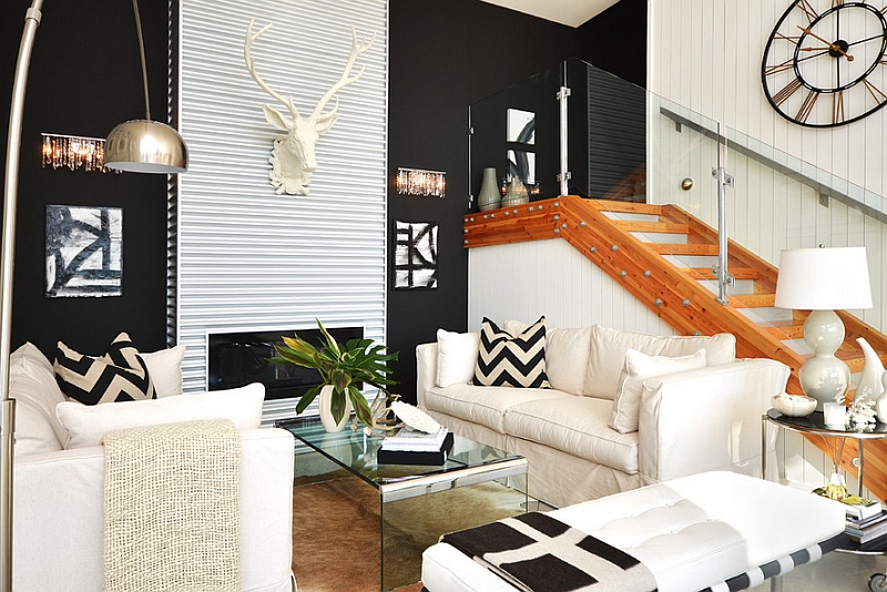 hard to miss the metallic accents in this room