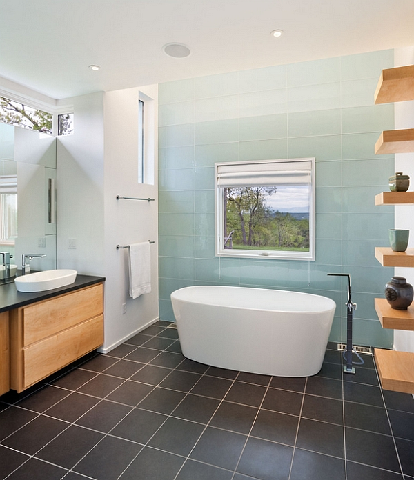 ombre tile in the bathroom in blue