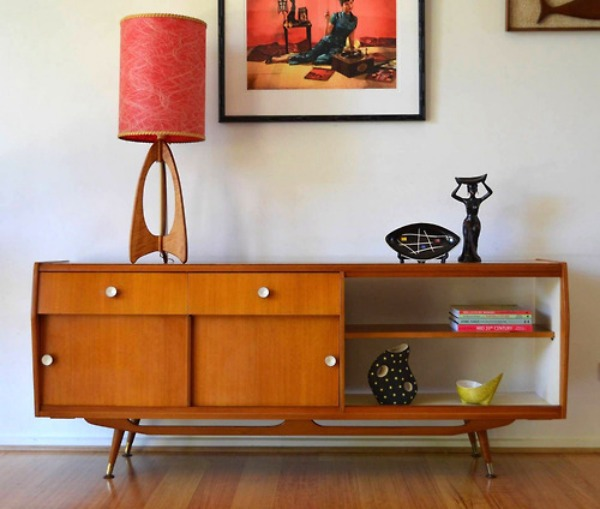 open teak sideboard