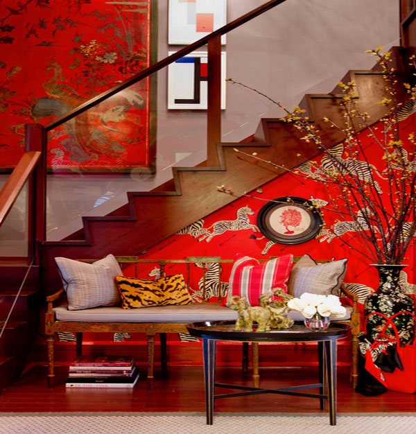 red themed home designs with an asian twist