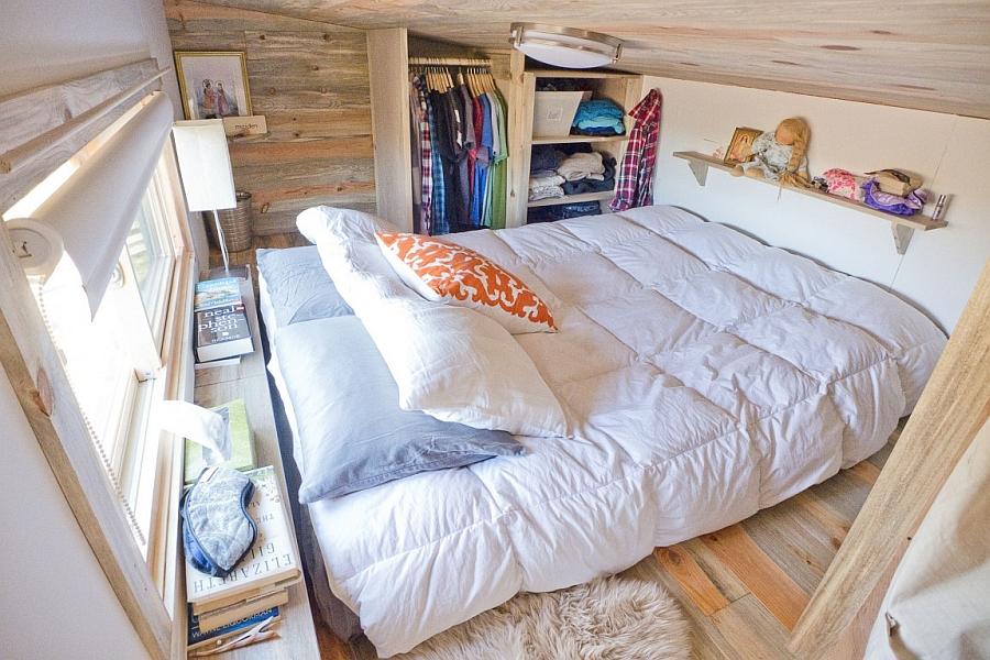 small wardrobe next to the loft bed