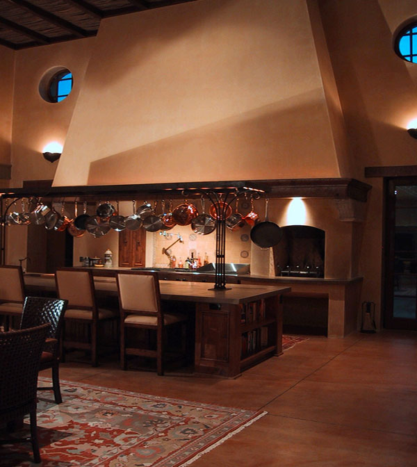 Darker shade of sandstone flooring for a cozy ambiance
