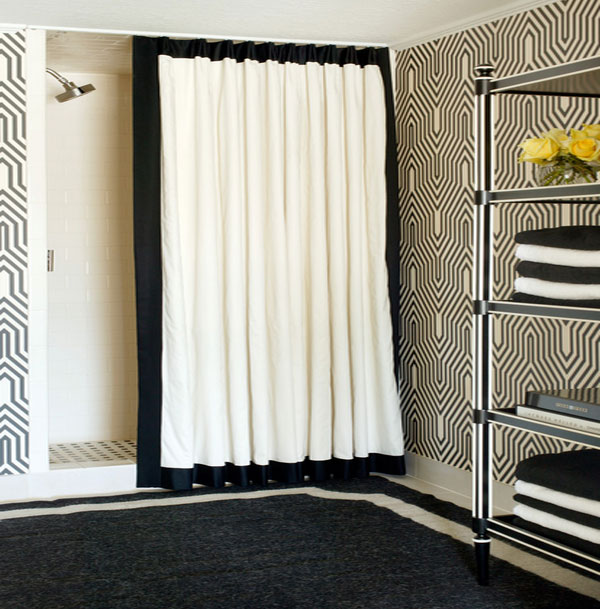 tobi fariley interior design the black and white shower curtain - Bathroom Designs With Shower Curtains