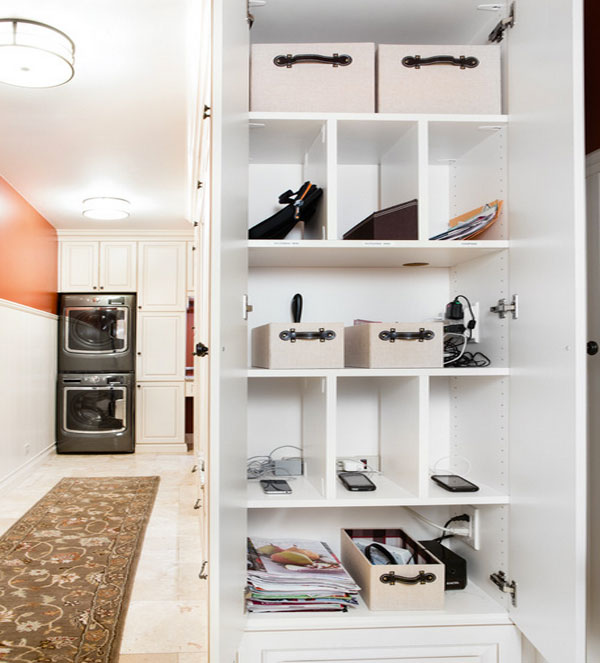 white closet organization stations  Mobile Device Charging Stations For A Neat And Tidy Space