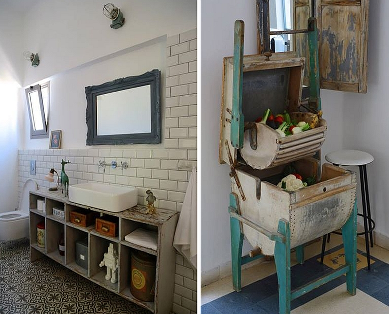 A look at the salvaged and reused items in the bathroom